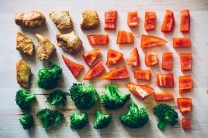 Frisches Gemüse und Fleisch